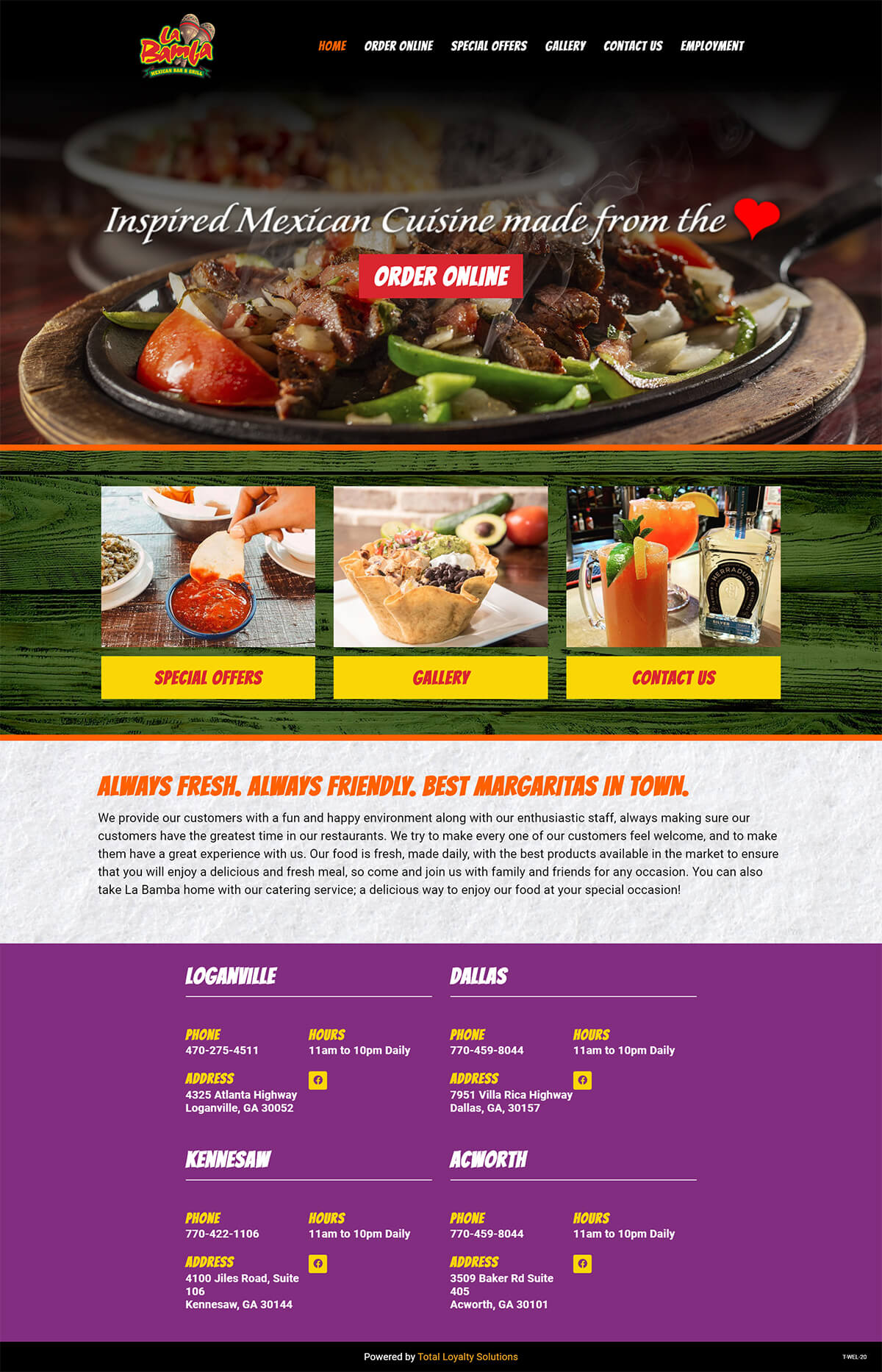La Bamba Mexican Restaurant - TLS Mobile Friendly Website